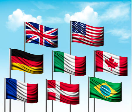 european: Collection of flags of some countries. Vector.