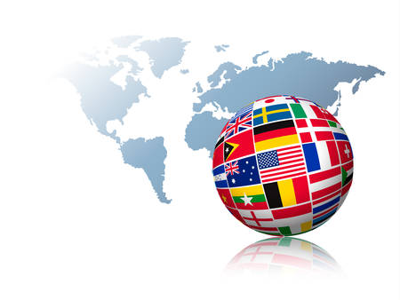 Globe made out of flags on a world map background. Vector. Çizim