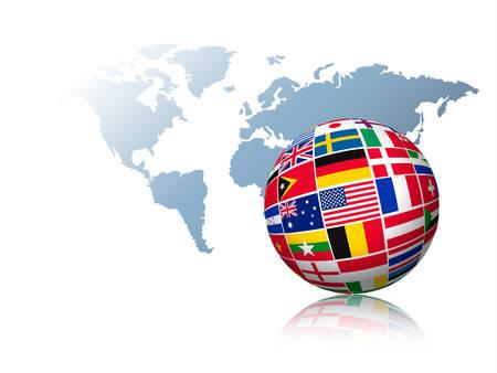 languages: Globo hecho de banderas en un mapa del mundo de fondo. Vector. Vectores