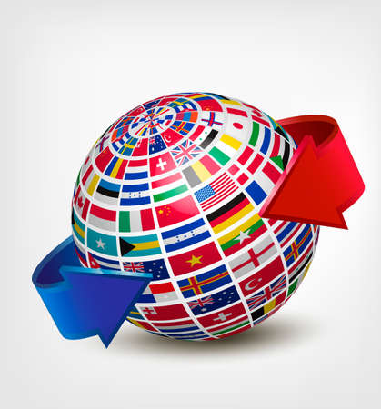 world flag: Globe made out of flags with two arrows. Vector. Illustration