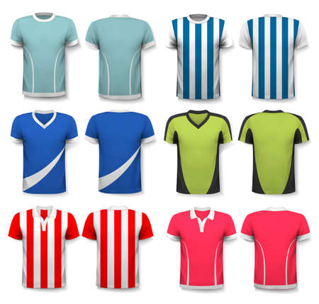 manchester: Collection of various soccer jerseys. The T-shirt is transparent and can be used as a template with your own design. Vector.