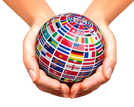 united nations: Flags of the world on a globe, held in hands. Vector illustration.