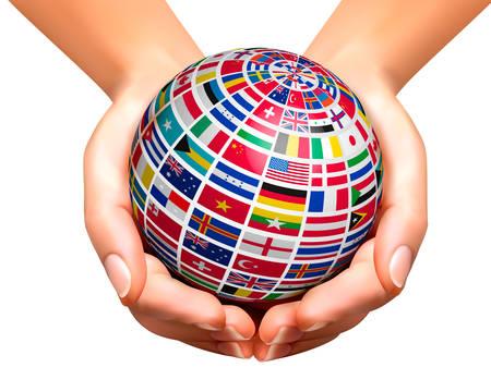 naciones unidas: Indicadores del mundo en un globo, que se celebró en las manos. Ilustración del vector.