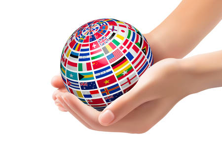 world flag: Flags of the world on a globe, held in hands. Vector illustration.