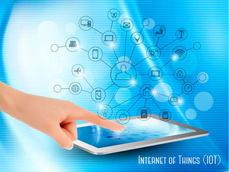 internet button: Internet of Things concept (IoT). Hand holding a tablet or smartphone, revealing a net of wireless controlled devices. Vector.