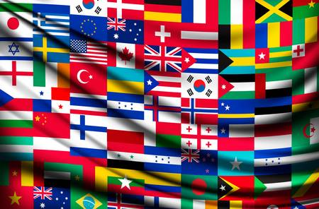 european: Big flag background made of world country flags. Vector.