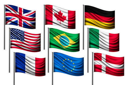 all european flags: Nine different flags of major countries. Vector.
