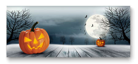 pumpkin head: Holiday Halloween Banner with Pumpkins and Moon. Vector