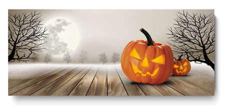 Holiday Halloween Banner with Pumpkins and Moon. Vector