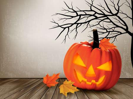 lantern: Halloween background with a Jack O Lantern. Vector.