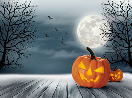 pumpkin head: Halloween spooky background. Vector Illustration