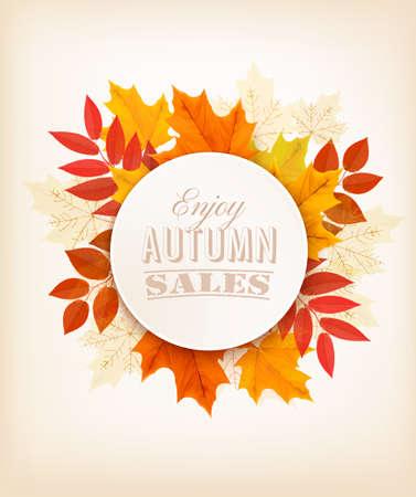 otoñales: Banner de venta de otoño con hojas de colores. Vector.