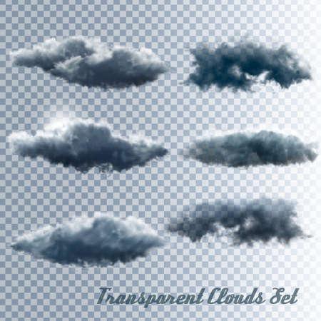 Set di nuvole trasparenti. Vettore Vettoriali