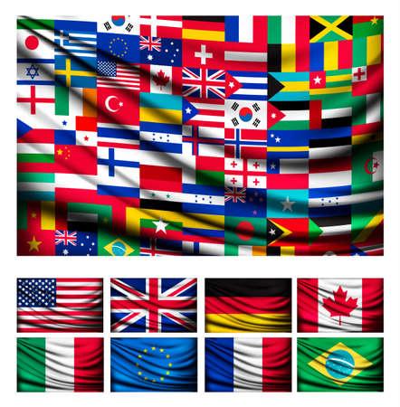 banderas america: Fondo de la bandera grande hecha de banderas de los países del mundo. Vector.