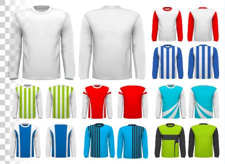 camisa: Colección de varias camisas de manga larga de sexo masculino. Plantilla de diseño. La camisa es transparente y se puede utilizar como una plantilla con su propio diseño. Vector.
