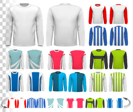 red shirt: Collection of various male long sleeved shirts. Design template. The shirt is transparent and can be used as a template with your own design. Vector.