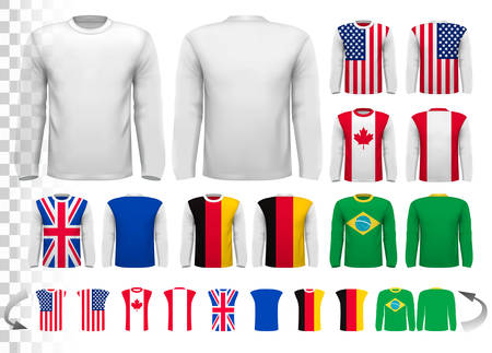 sleeved: Collection of various male long sleeved shirts. Design template. The shirt is transparent and can be used as a template with your own design. Vector