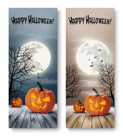 calabaza: Banners de vacaciones de Halloween con calabazas y la luna. Vector