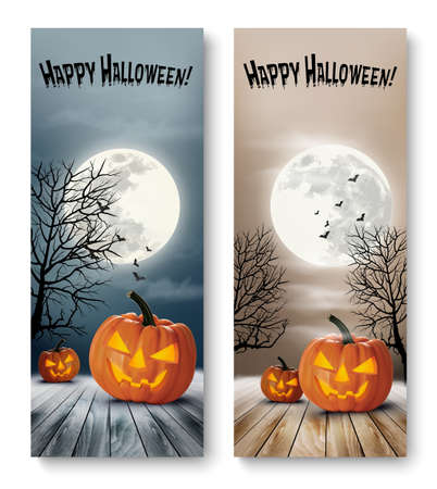 pumpkin: Holiday Halloween Banners with Pumpkins and Moon. Vector