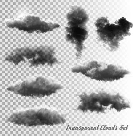 clouds: Set of transparent clouds and smoke. Vector.