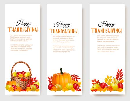 thanksgiving day symbol: Tre Happy Thanksgiving Banners. Vettore. Vettoriali