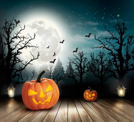 pumpkin border: Halloween spooky background. Vector Illustration