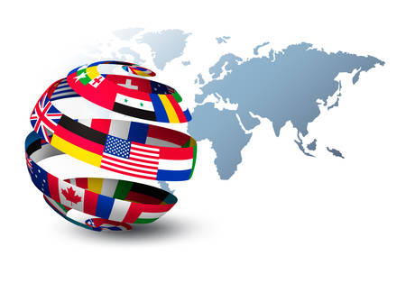 Globe made out of flags on a world map background. Vector. Stock Illustratie