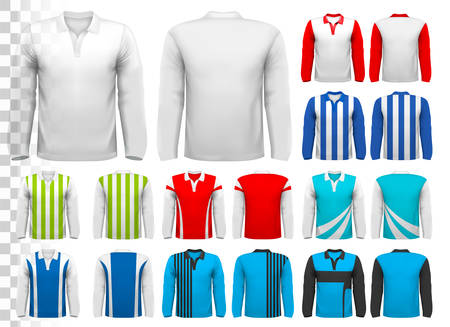 white shirt: Collection of various soccer jerseys. The T-shirt is transparent and can be used as a template with your own design. Vector.