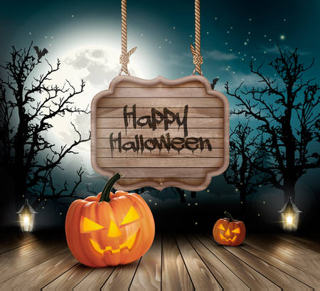 scary halloween: Scary Halloween background with a wooden sign. Vector.