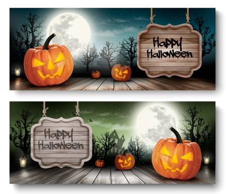 calabazas de halloween: Dos banderas de vacaciones de Halloween con muestra de madera. Vector