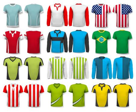 Collectie van verschillende shirts. Ontwerp sjabloon. Het T - shirt is transparant en kan worden gebruikt als een sjabloon met uw eigen ontwerp. Vector