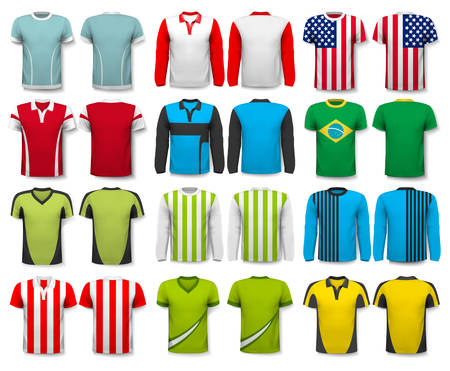 Collection of various shirts. Design template. The t--shirt is transparent and can be used as a template with your own design. Vector
