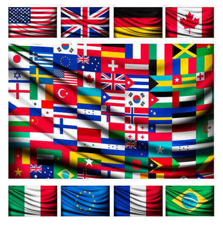 Big flag background made of world country flags. Vector.