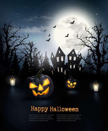 calabazas de halloween: Fondo asustadizo de Halloween con calabazas y la luna. Vector. Vectores