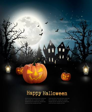 spooky forest: Halloween spooky background. Vector Illustration