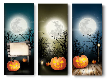 Holiday Halloween Banners with Pumpkins and Wooden Sign. Vector
