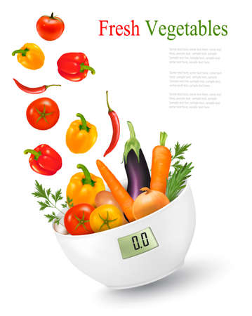 diabetes food: Fresh vegetables with in a weight scale. Diet concept. Vector.