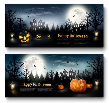 Dos banderas de vacaciones de Halloween con calabazas y la luna. Vector