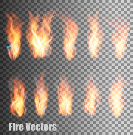 flames background: Set of transparent flame vectors. Illustration