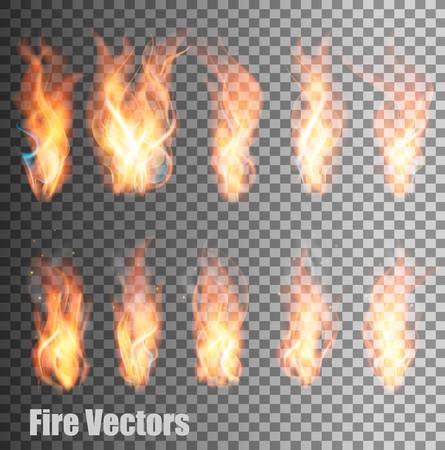 Set of transparent flame vectors. Stock Illustratie