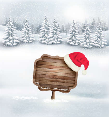 red hat: Winter christmas landscape with a wooden ornate sign and a santa hat background. Vector.