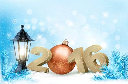 gift background: New Year background with a 2016 and a bauble. Vector.