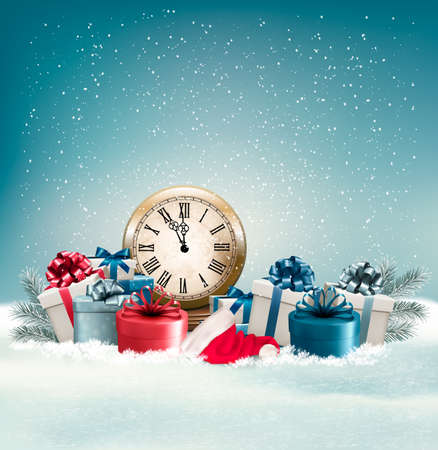 desember: Winter background with presents. Vector. Illustration
