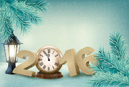 holiday background: Holiday background with a 2016 made with a clock. Vector.