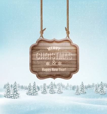 sign: Winter landscape with a wooden ornate Merry christmas sign. Vector.