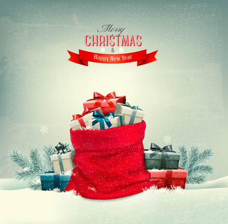 snow: Holiday Christmas background with a sack full of gift boxes. Vector.