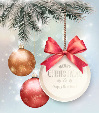christmas ornaments: Christmas background with colorful balls and gift card. Vector illustration. Illustration