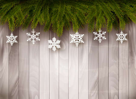 outdoor lights: Background with Christmas tree branches and snowflakes in front of a wooden wall. Vector. Illustration