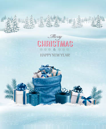 rime frost: Christmas background with a winter landscape and blue sack full of presents. Vector. Illustration