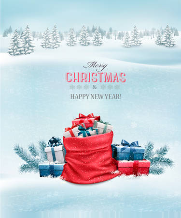 sacks: Christmas background with a winter landscape and a sack full of presents. Vector. Illustration